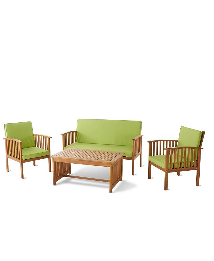 Noble House - Carolina Outdoor 4pc Chair Set, Quick Ship