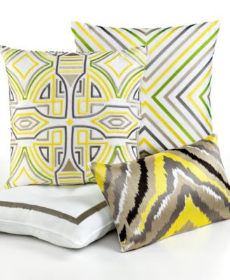 "Trina Turk Ikat Stripe Zig Zag 20"" Square Decorative Pillow"