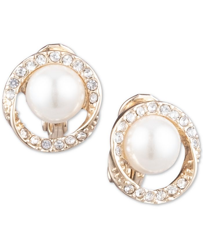 Anne Klein - Gold-Tone Pavé & Imitation Pearl Halo Clip-On Button Earrings