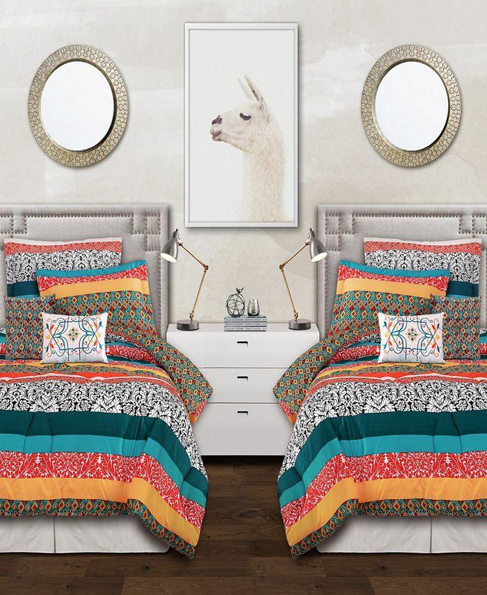 Lush Décor - Bohemian Stripe 5-Piece Twin XL Comforter Set