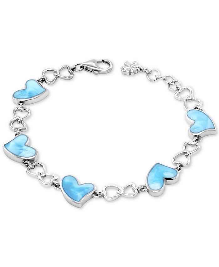 Marahlago - Larimar Heart Link Bracelet in Sterling Silver