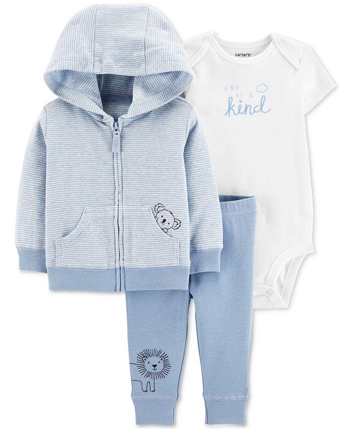 Carter's - Baby Boys 3-Pc Printed Cotton Hoodie, Bodysuit & Pants Set