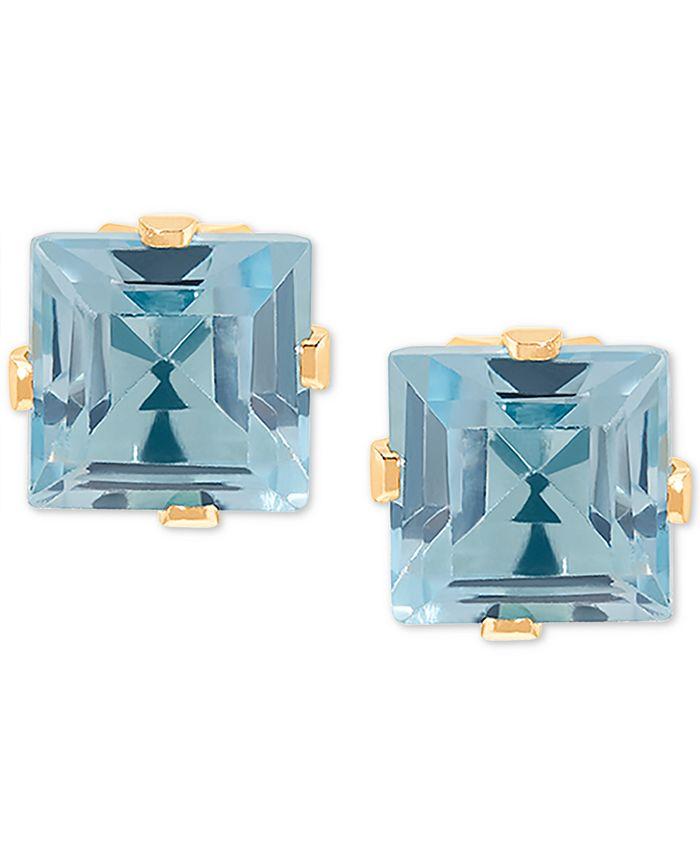 Macy's - Blue Topaz Stud Earrings (1-3/8 ct. t.w.) in 14k Gold