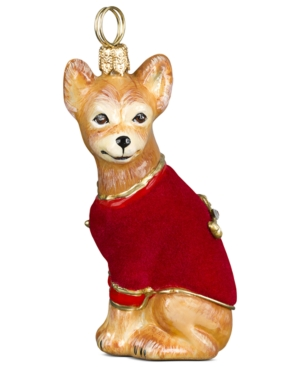 Joy to the World Pet Ornament, Chihuahua with Red Velvet Coat