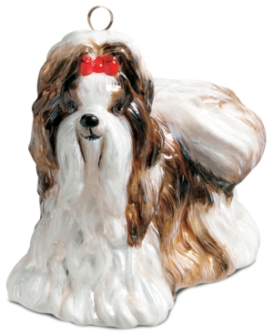 Joy to the World Pet Ornament, Shih Tzu Brown & White