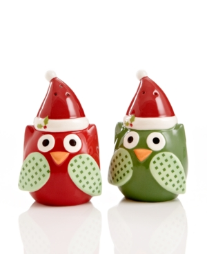 Christmas Cut-Outs Dinnerware, Owl Salt and Pepper Shakers