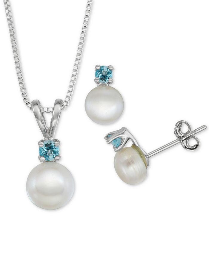 "Macy's - Cultured Freshwater Pearl (6-7mm) & Blue Topaz (1/3 ct. t.w.) 18"" Pendant Necklace & Stud Earrings Set in Sterling Silver"