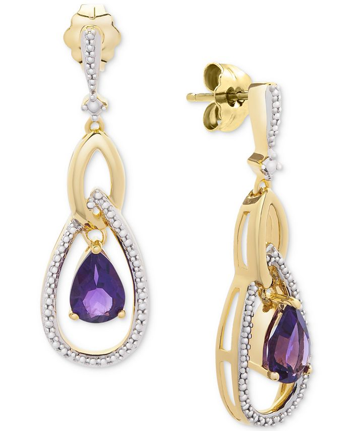 Macy's - Amethyst Two-Tone Drop Earrings (1-1/3 ct. t.w.) in Sterling Silver & 14k Gold-Plate