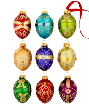 Kurt Adler Christmas Ornaments, Set of 9 Mini Glass Eggs