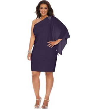 R & M Richards Plus Size Dress, Three Quarter Flutter Sleeve One Shoulder Beaded Cocktail Dress
