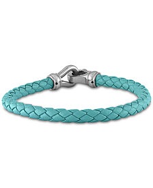 Esquire Men's Jewelry Braided Leather Bracelet in Stainless Steel