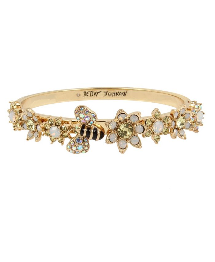 Betsey Johnson - Bumble Bee & Mixed Flower Hinged Bangle Bracelet