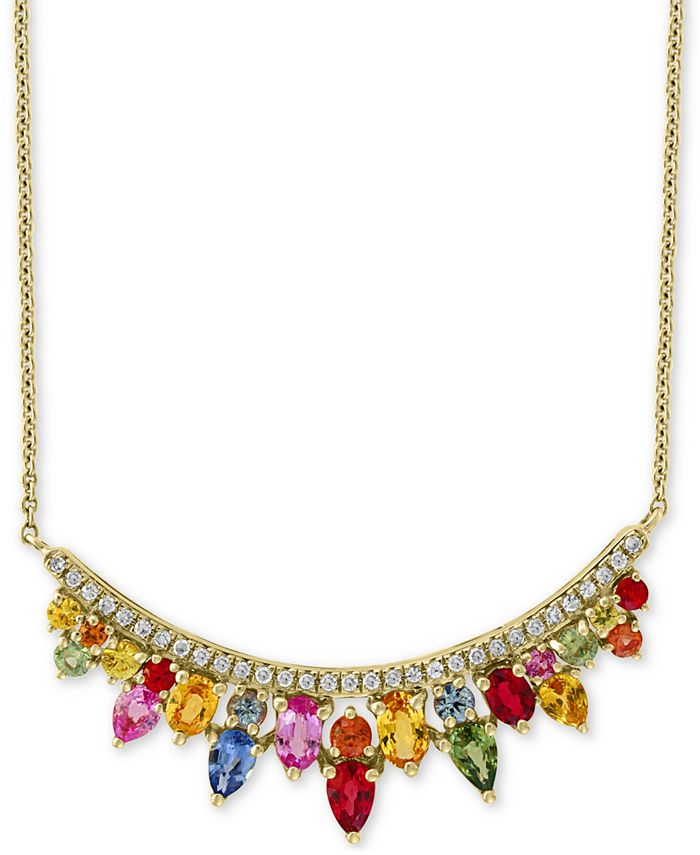 EFFY Collection - Multi Sapphire (3-1/3 ct.t.w.) & Diamond (1/5 ct. t.w.) Statement Necklace in 14k Gold