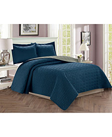 Elegant Comfort Luxury 3-Piece Bedspread Coverlet Majestic Design Quilted Set with Shams - King/California King