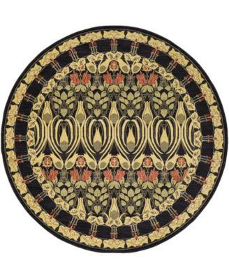 Orwyn Orw3 Black 8' x 8' Round Area Rug