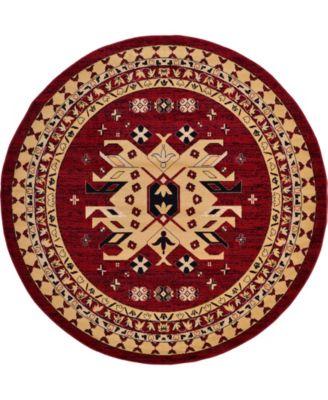 Charvi Chr1 Red 8' x 8' Round Area Rug