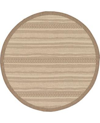 Pashio Pas4 Brown 6' x 6' Round Area Rug