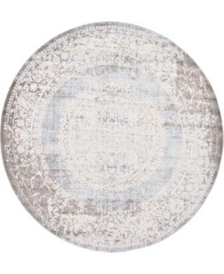 Norston Nor4 Light Blue 8' x 8' Round Area Rug