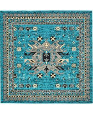 Charvi Chr1 Turquoise 8' x 8' Square Area Rug