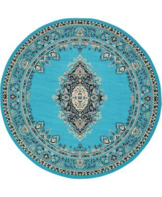 Birsu Bir1 Turquoise 8' x 8' Round Area Rug