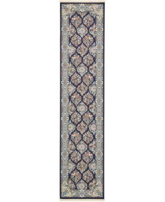 Zara Zar6 Navy Blue 3' x 13' Runner Area Rug