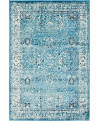 Linport Lin1 Turquoise/Ivory 4' x 6' Area Rug