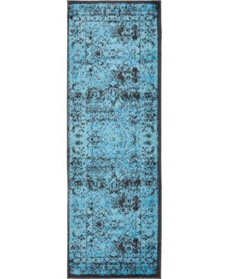 Linport Lin1 Turquoise/Black 2' x 6' Runner Area Rug
