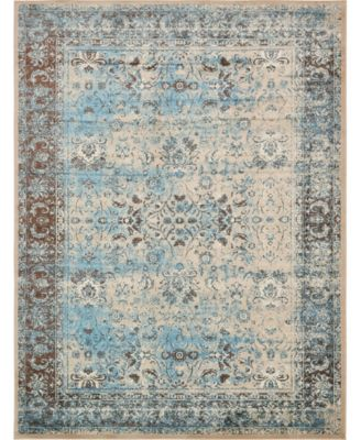 "Linport Lin1 Ivory/Turquoise 13' x 19' 8"" Area Rug"