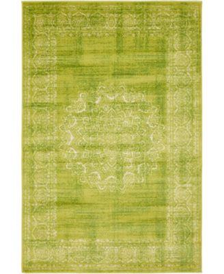 Linport Lin5 Light Green 4' x 6' Area Rug