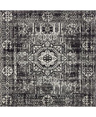 "Wisdom Wis3 Black 8' 4"" x 8' 4"" Square Area Rug"