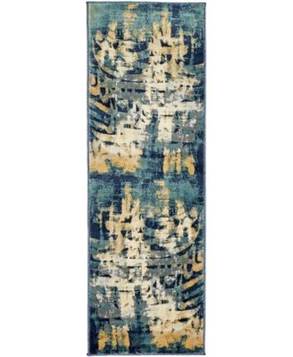 Marblesea Mrb5 Navy Blue 2' x 6' Runner Area Rug