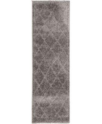 """Filigree Shag Fil1 Dark Gray 2' x 6' 7"""" Runner Area Rug"""