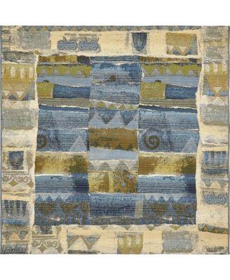 Pashio Pas1 Blue 6' x 6' Square Area Rug