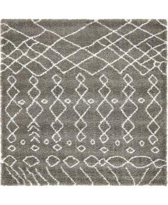Fazil Shag Faz2 Gray 8' x 8' Square Area Rug