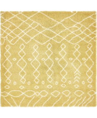 Fazil Shag Faz2 Yellow 8' x 8' Square Area Rug
