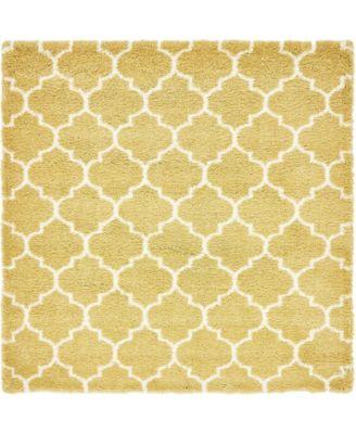 Fazil Shag Faz4 Yellow 8' x 8' Square Area Rug