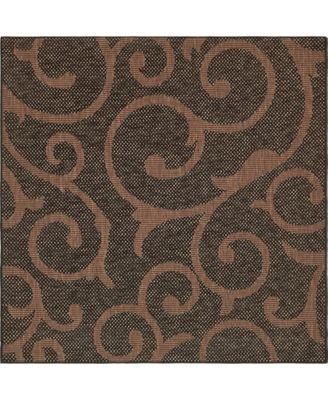 Pashio Pas7 Chocolate Brown 6' x 6' Square Area Rug