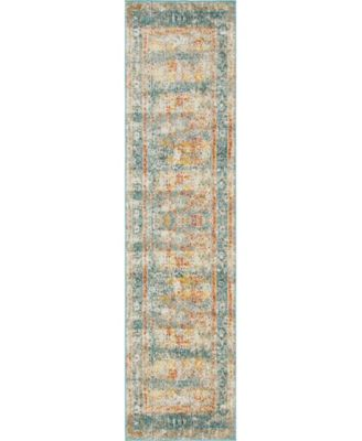 "Mishti Mis7 Blue 2' 7"" x 10' Runner Area Rug"