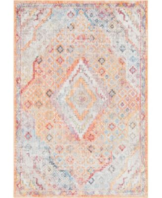 "Zilla Zil1 Orange 5' 3"" x 7' 9"" Area Rug"