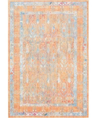 "Zilla Zil2 Orange 5' 3"" x 7' 9"" Area Rug"