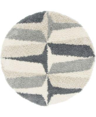 Lochcort Shag Loc6 Gray 5' x 5' Round Area Rug