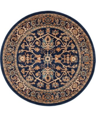 "Thule Thu1 Navy Blue 4' 5"" x 4' 5"" Round Area Rug"