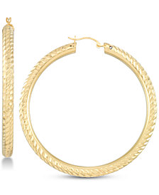 Signature Gold Diamond Accent Textured Hoop Earrings in 14k Gold Over Resin, Created for Macy's