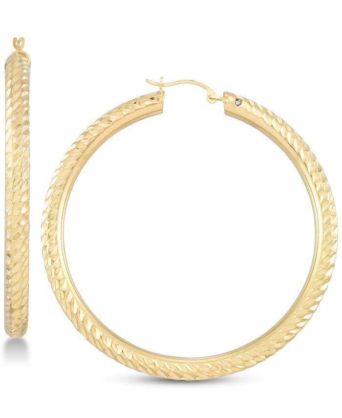 Signature Gold - Diamond Accent Textured Hoop Earrings in 14k Gold Over Resin
