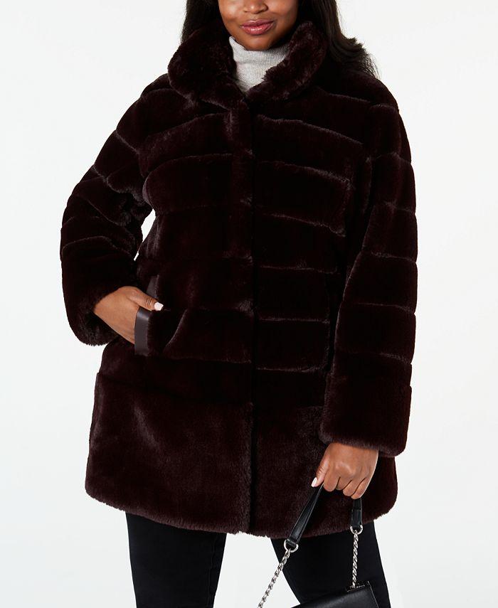 Jones New York - Plus Size Faux-Fur Coat with Faux-Leather-Trim