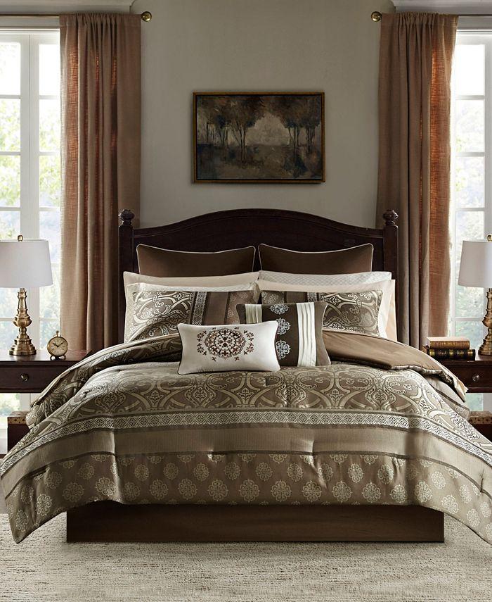JLA Home - Zara California King 16 Piece Jacquard Complete Bedding Set With 2 Sheet Sets