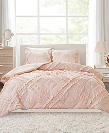 Intelligent Design Kacie Full/Queen 3 Piece Solid Coverlet Set With Tufted Diamond Ruffles