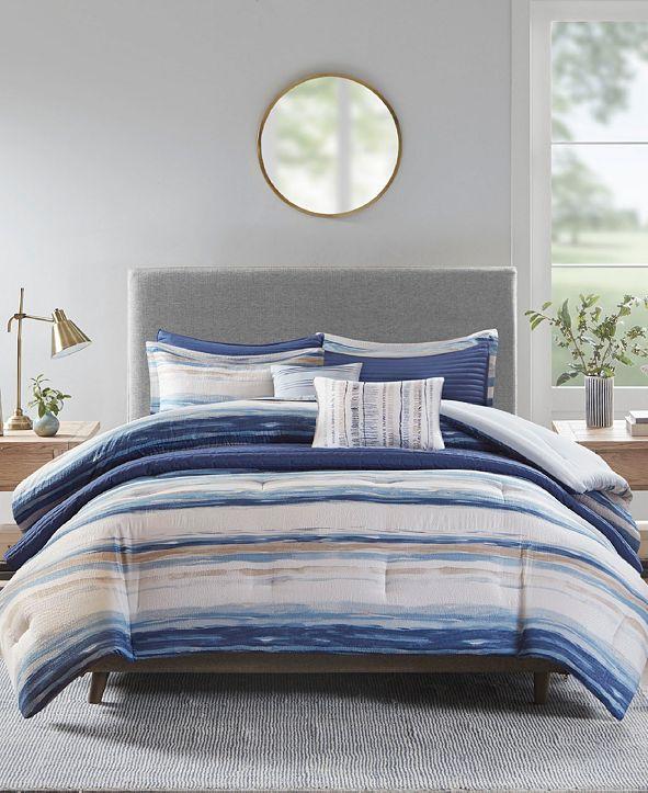 Madison Park Marina King/California King 8 Piece Printed Seersucker Comforter Set