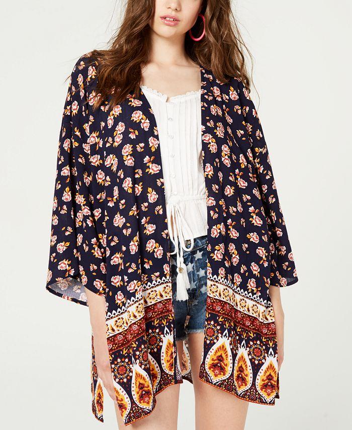 Ultra Flirt - Juniors' Lace-Back Kimono