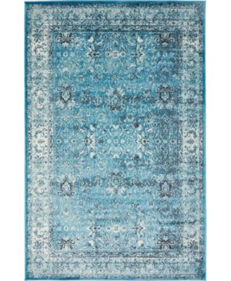 Linport Lin1 Turquoise/Ivory 5' x 8' Area Rug